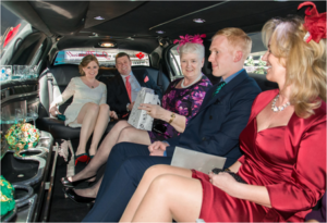 interior of stretch limo with people
