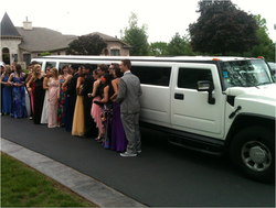 prom limousines with people